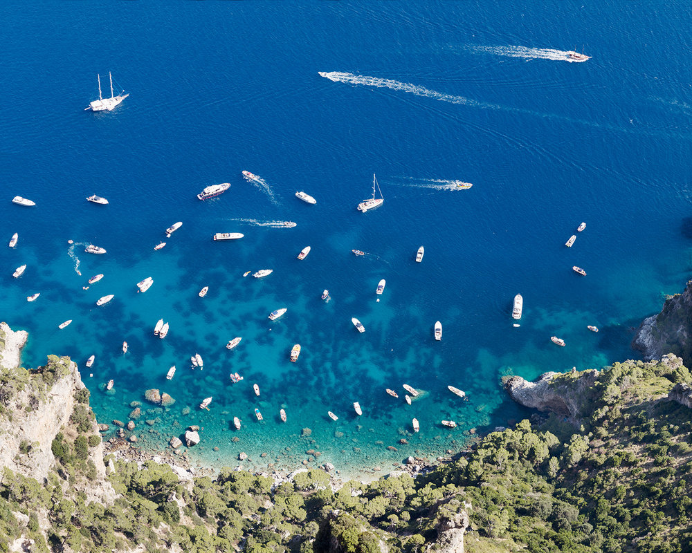 "Jonathan Smith's photograph from his new Amalfi Coast series: ""Yachts from Monte Solaro"""