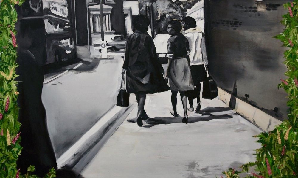 Micheala Yearwood-Dan,  Working Girls , oil on canvas, 2018.