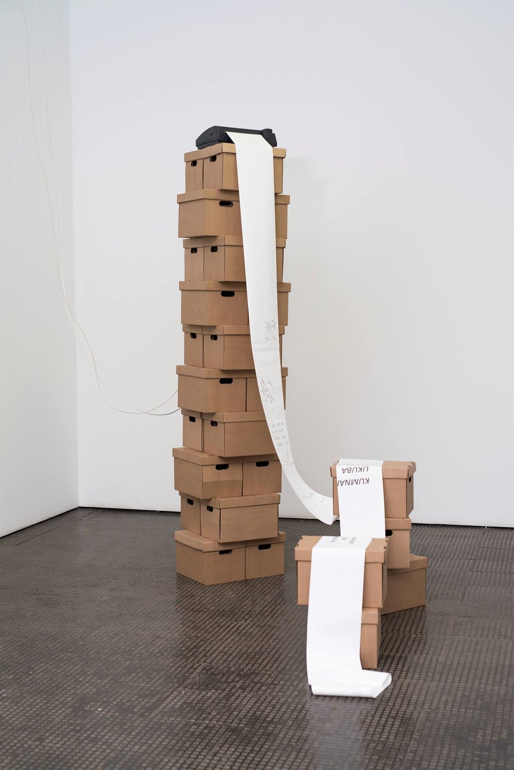 Simnikiwe Buhlungu, A Looooong Ass Message, ya dig?, Installation (fax machine, faxes periodically sent and operated by the artist, archival boxes), variable dimensions, SMAC Gallery, 2018.