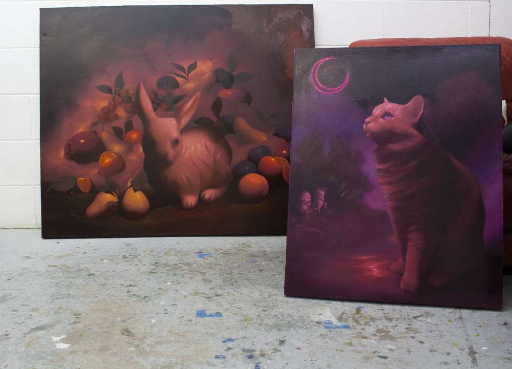 Untitled, left. Oil on canvas, 30x40. Asian, right. Oil on Canvas, 24x30.