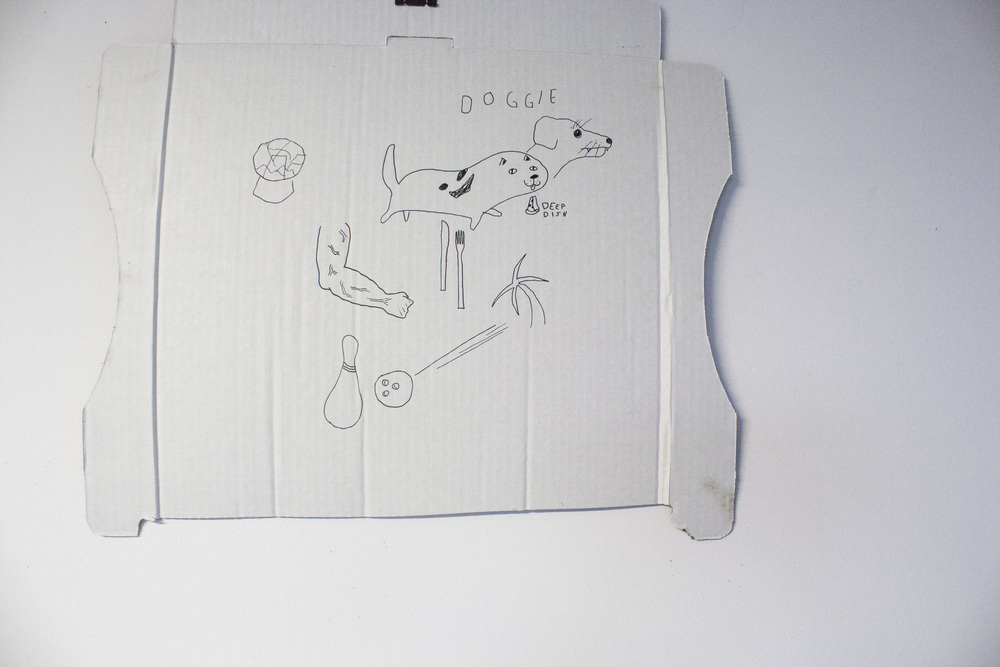 Pizza box drawing by artist Matt Davey