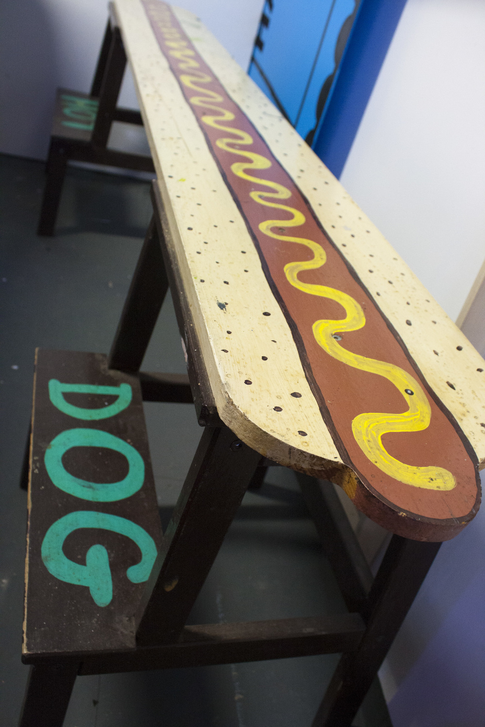 Hot Dog bench by artist Keith Jones.