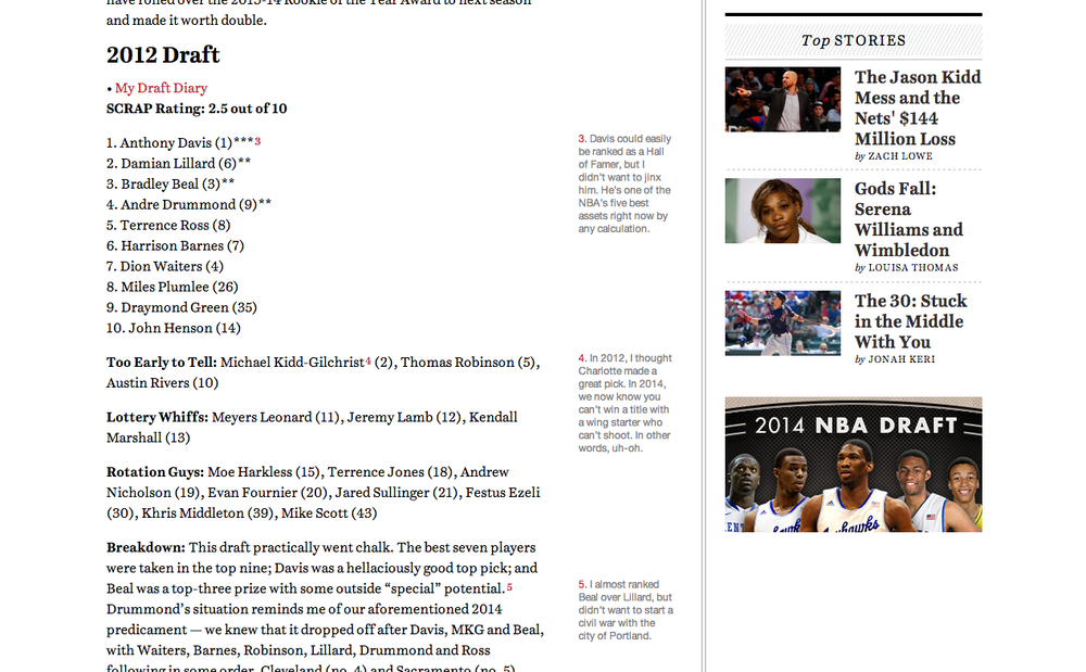 Grantland Sidebar Footnotes