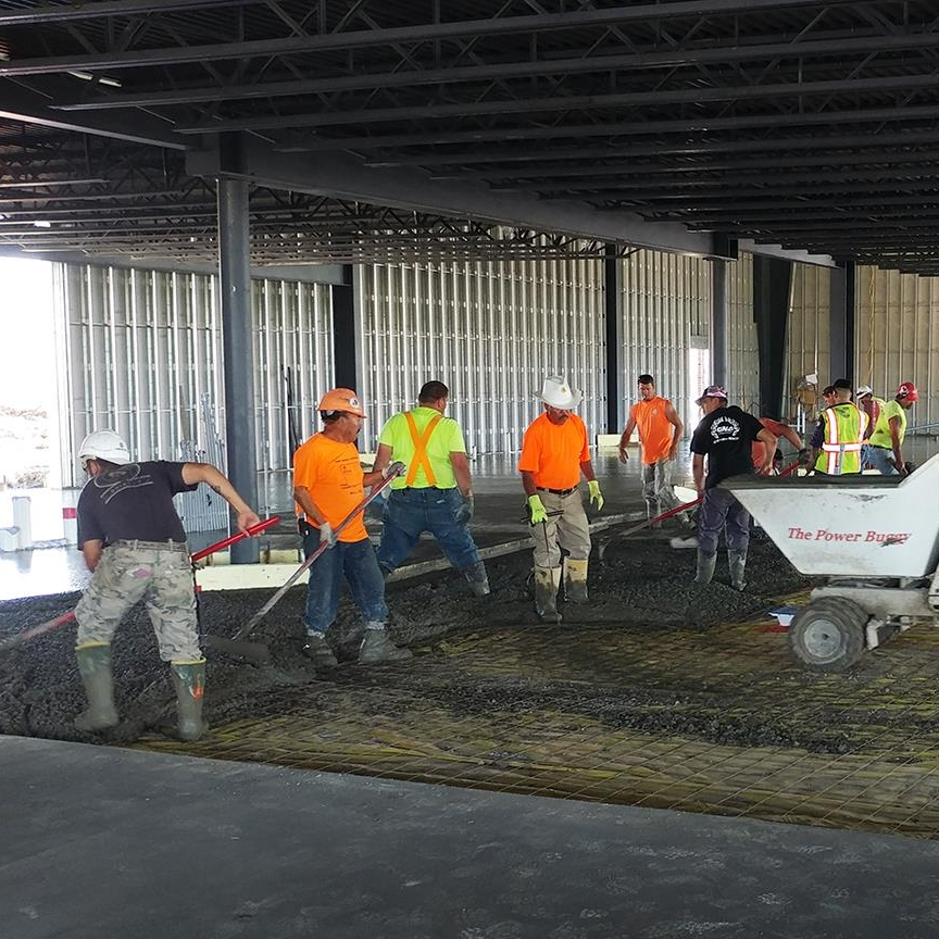 May 29, 2018   It's all hands on deck at  Smash Park  as we make the second concrete pour to finish off the pickleball courts and slab on grade. Our next step includes framing the steel stud walls, getting us one step closer to burgers, brews, and games!