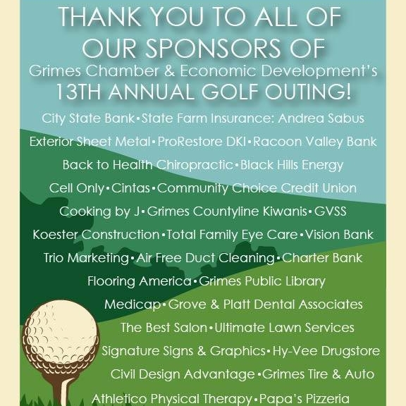 September 24, 2018   Thank you to the Grimes Chamber & Economic Development for hosting an awesome day of golf, community, and cold brews. We are looking to sponsoring next year's outing. ⛳