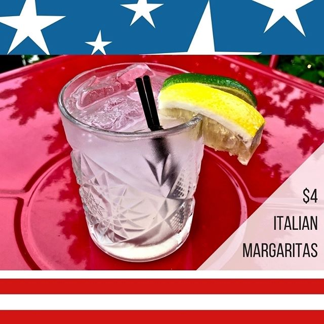 We have a special drink for the #4thOfJuly!  This $4 Italian Margarita with tequila, limoncello, and lemonade from Sicilian lemons is available today and through the end of the month. 🍋