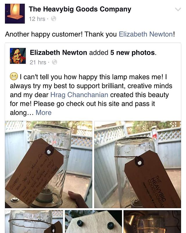 Love me some happy customers! Elizabeth is stoked on her Hex lamp!  #modernlighting #diy #lamp #lasercut #moderndesign #heavybig #lighting #hashtag #handmade #desklamp #woodworking