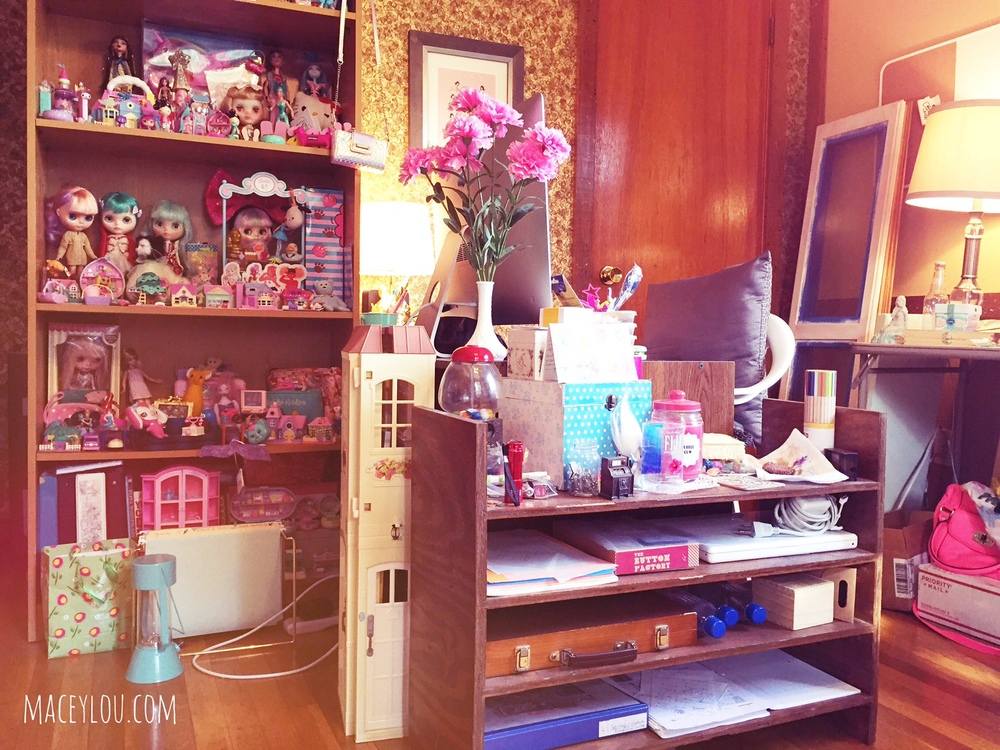 My favorite part of my studio: the toy shelf and the iMac! <3