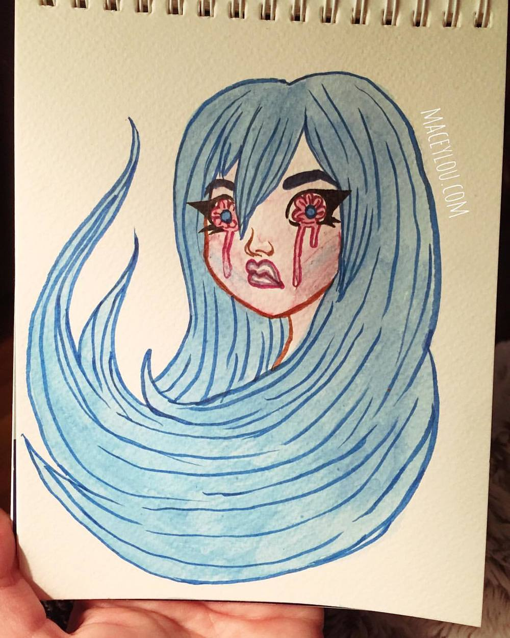 sad loss family tears crybaby cry baby crying girl kawaii cute pretty blue hair watercolor illustration painting.jpg