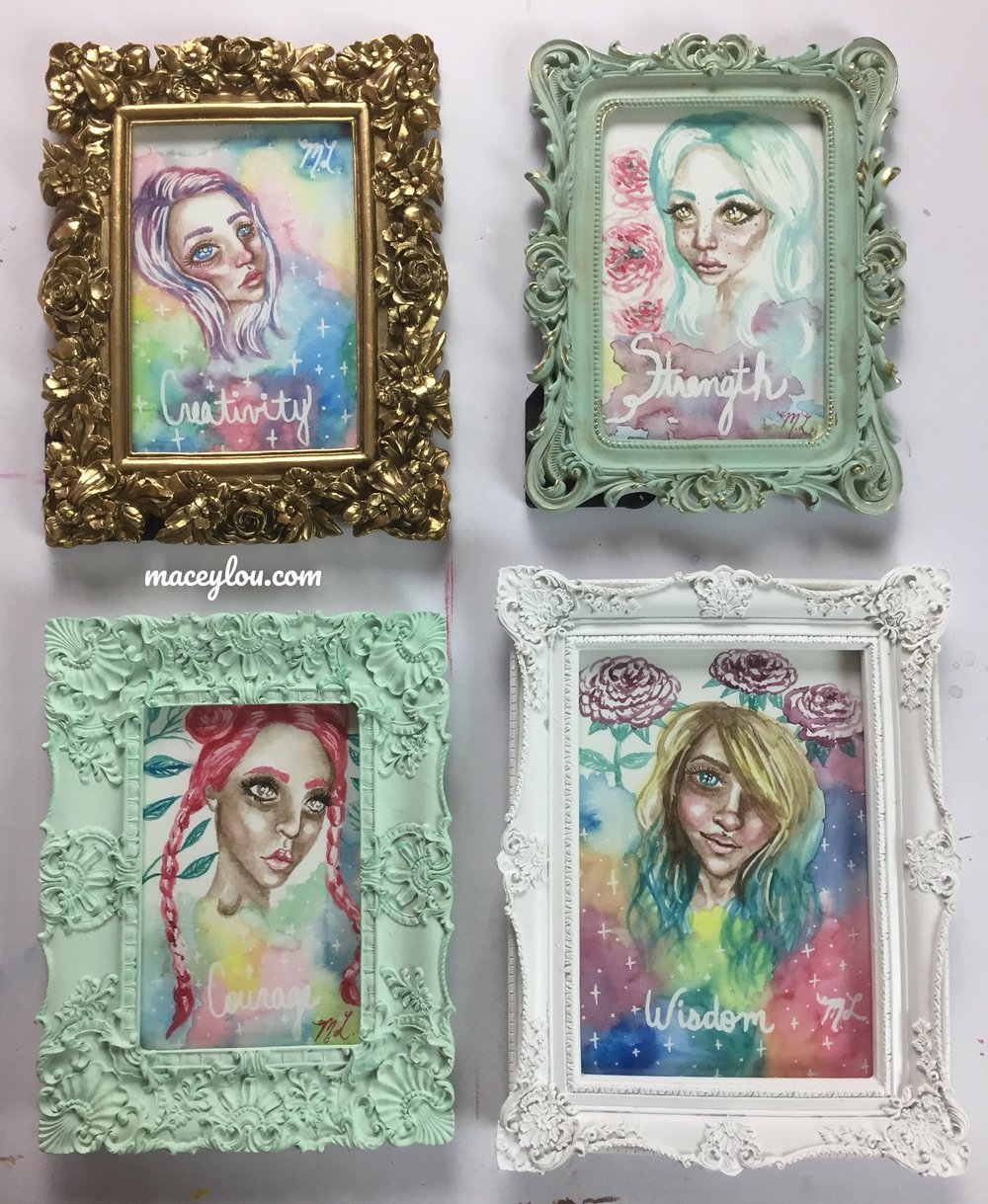 Multiple Framed Watercolor Pieces