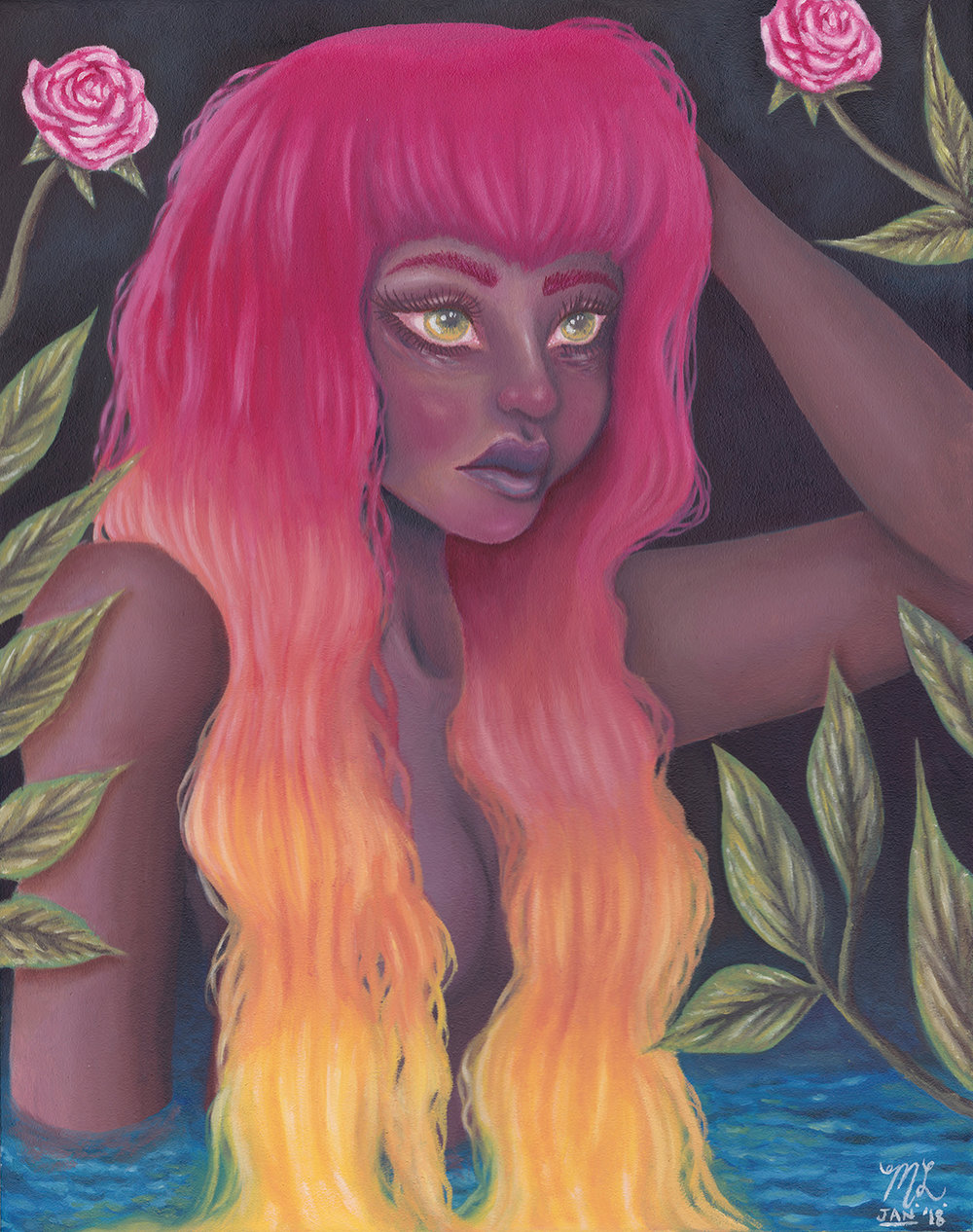 """""""Femme Flame"""" Oil Painting"""
