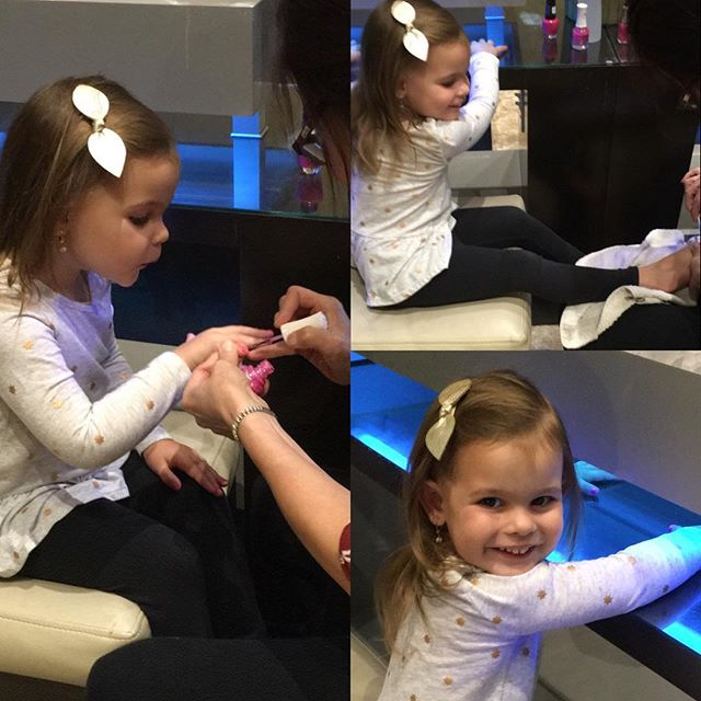 So excited to get her 1st Mani & Pedi! 💅🏻 #granddaughterlove💗 #pinksparkles #bubbiesgirls #girlsfunday #happynewyear #roshhashana #sweetnewyear