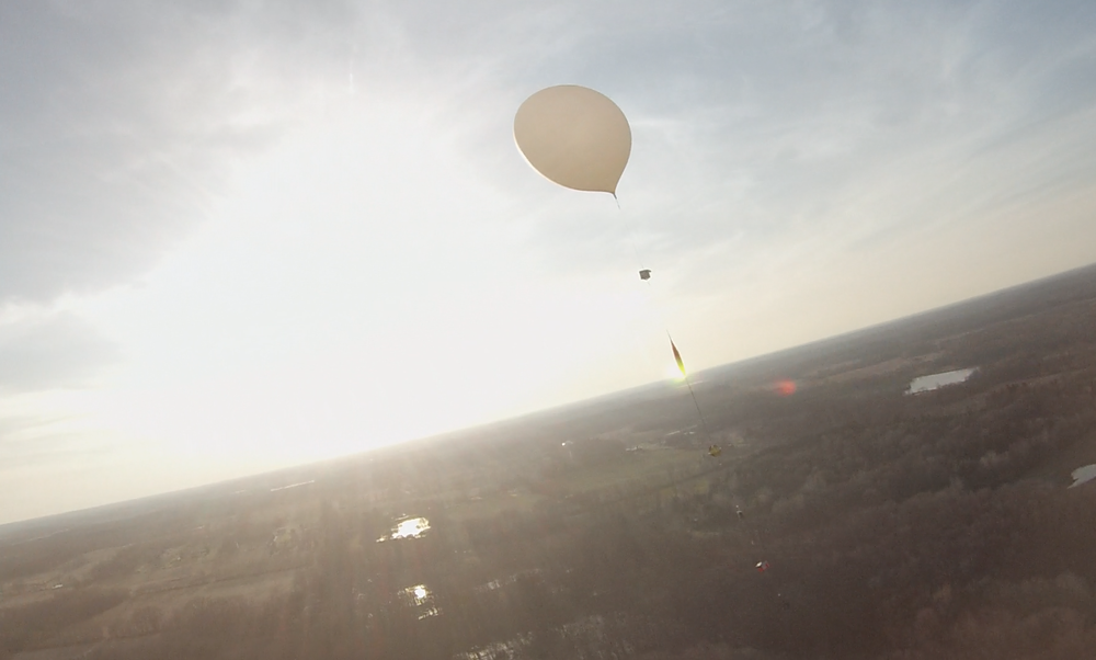 UM students launched two balloons at the same time, so they could get a picture of one balloon from the air.  This was part of the  Global Space Balloon Challenge .