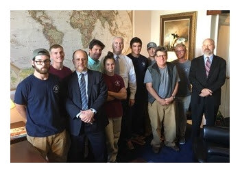 Right: Students and crew meet with Rep. Tom Emmer (R-MN), co-chair of the Congressional Cuba Working Group