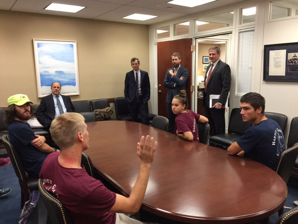 Lobbying for Greater Engagement: Ocean Passages students meet with the staff of Sen. Angus King (I-Maine) to explain why they will visit Cuba in spite of the U.S. travel warning for the island. Photo from Ocean Passages.