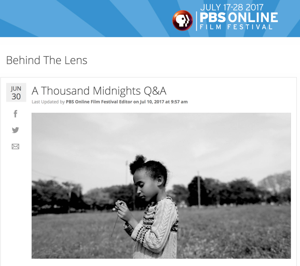 "A Thousand Midnights was selected for the 2017 PBS online film festival. You can see it here, along with many other cool shorts, beginning July 17! Please mark your calendars, Share with friends and please vote. Thank you all.  Editor's Note: The opinions expressed in this blog post are solely those of the respondents.  Director, Cinematographer and Photographer Carlos Javier Ortiz talks about the choices that went into his emotional narrative of the Great Migration and its effects on the present.  PBS: A Thousand Midnights is filmed entirely in black and white. What was the creative decision behind this?  Carlos Javier Ortiz: My previous film ""We All We Got"" was filmed in black and white as well. A Thousand Midnights is a part of a trilogy of short films chronicling the contemporary stories of Black Americans who came to the North during the Great Migration. Beginning with my mother-in-law's story, I'm exploring the legacy of the Great Migration a century after it began. Filming in black and white was a creative decision to make these connections.    READ MORE"