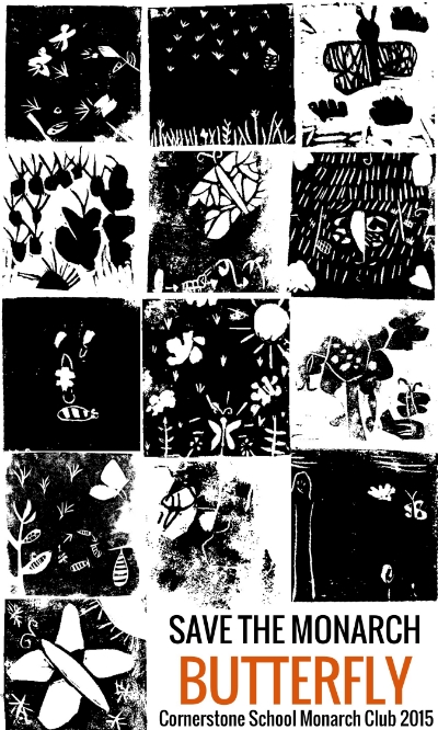 Block prints by elementary-aged children resulting from a 2-workshop series.