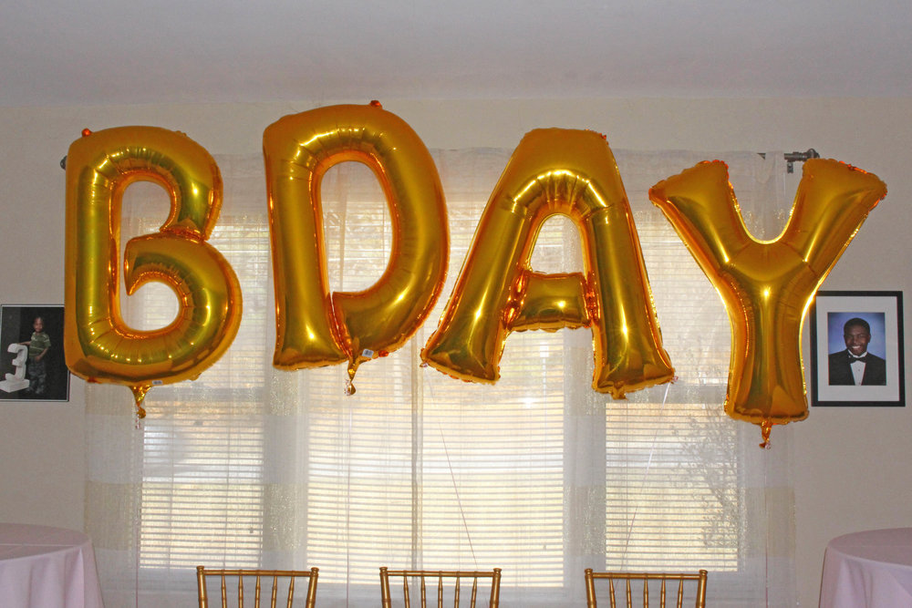 "large latex ""bday"" balloons for first birthday 