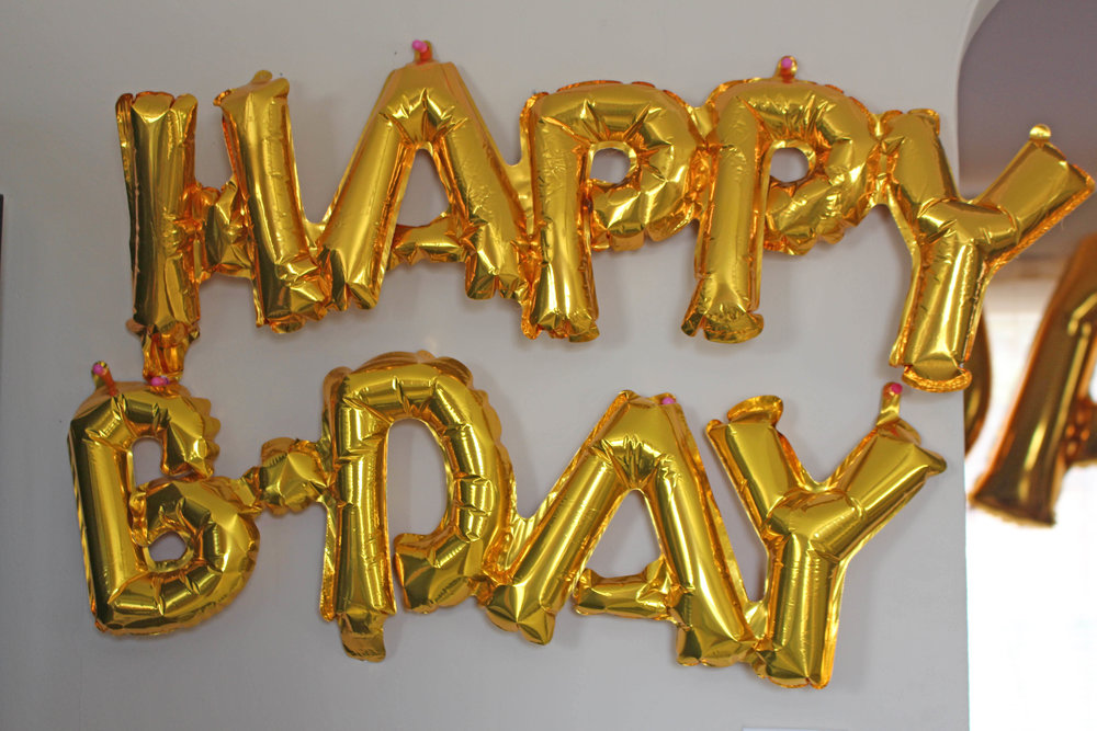 "small latex ""happy bday"" balloons for first birthday 