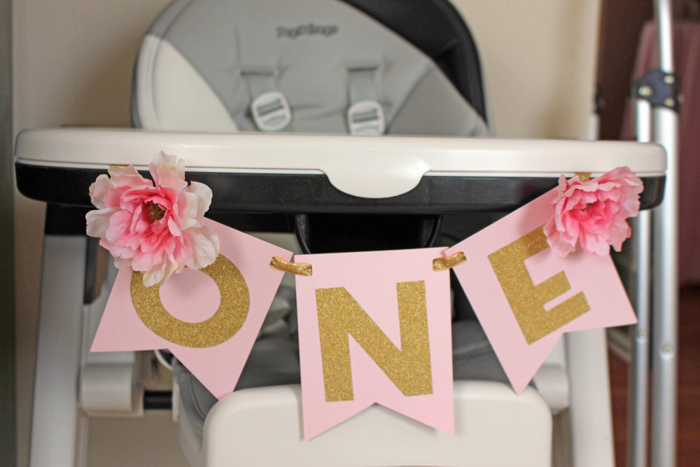floral themed first birthday - high chair banner | Pish Posh Perfect