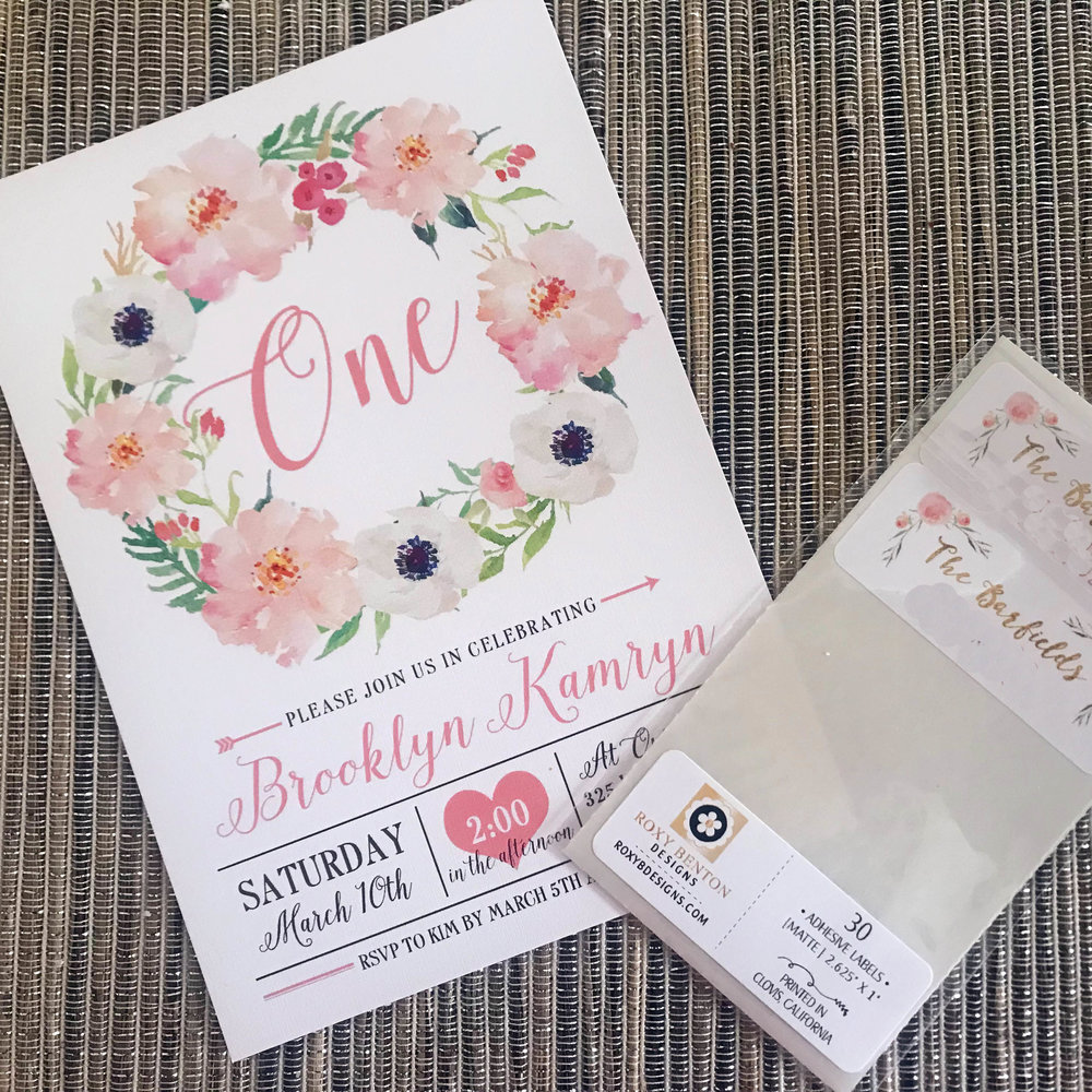 floral themed first birthday invitations | Pish Posh Perfect
