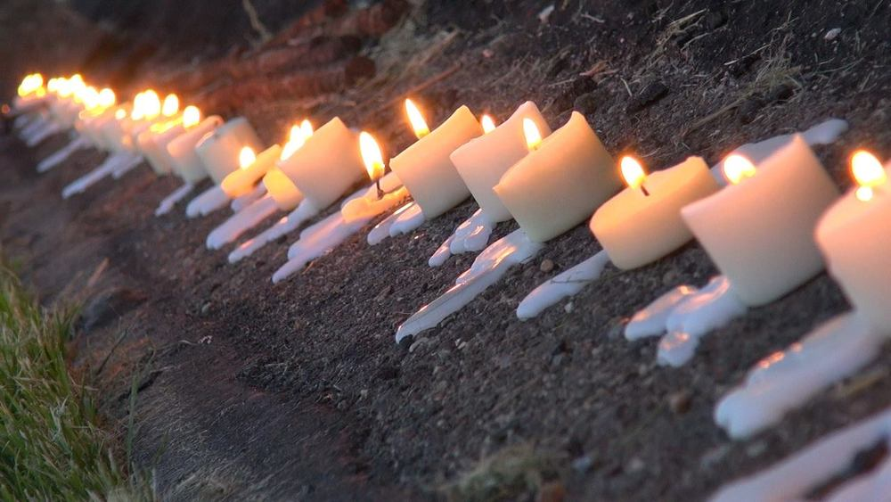 Candles lit by volunteers to signify the lives lost early Sunday morning, June 12th, 2016