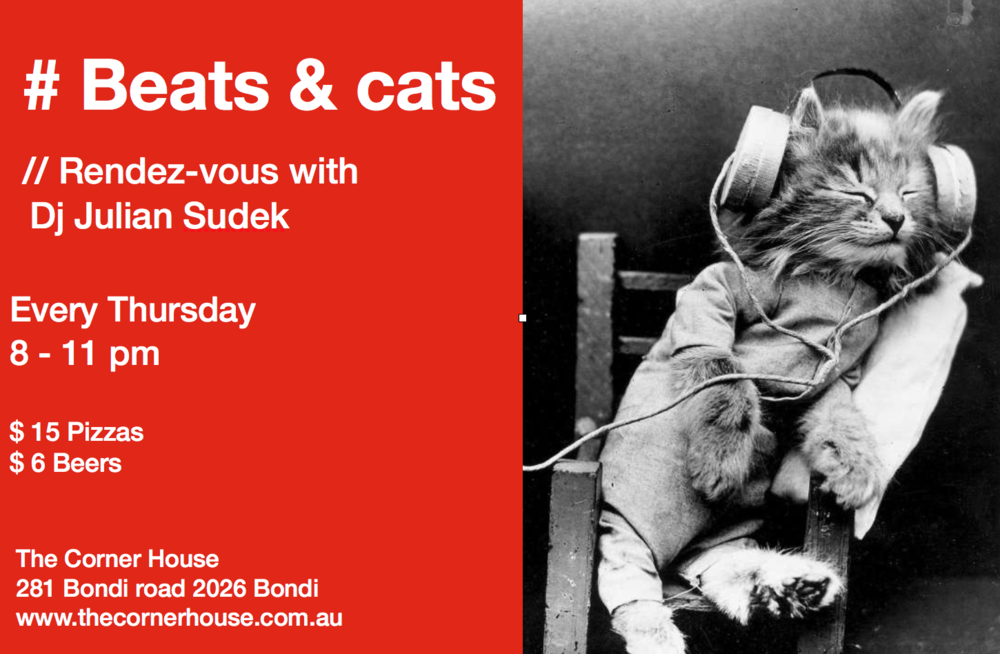 BEATS & CATS (TONIGHT!) Feat. Julian Sudek and guests We're excited to start our weekly PLAY. event Beats & Cats tonight. We've got Julian Sudek DJing on the night and of course our drink specials. Make Beats & Cats the start to your night out. $15 Old fashioned // $14 Negroni $14 Espresso Martini // 20% off bottle of wine Tonight from 6pm Julian Sudek on at 8pm #beatsandcats