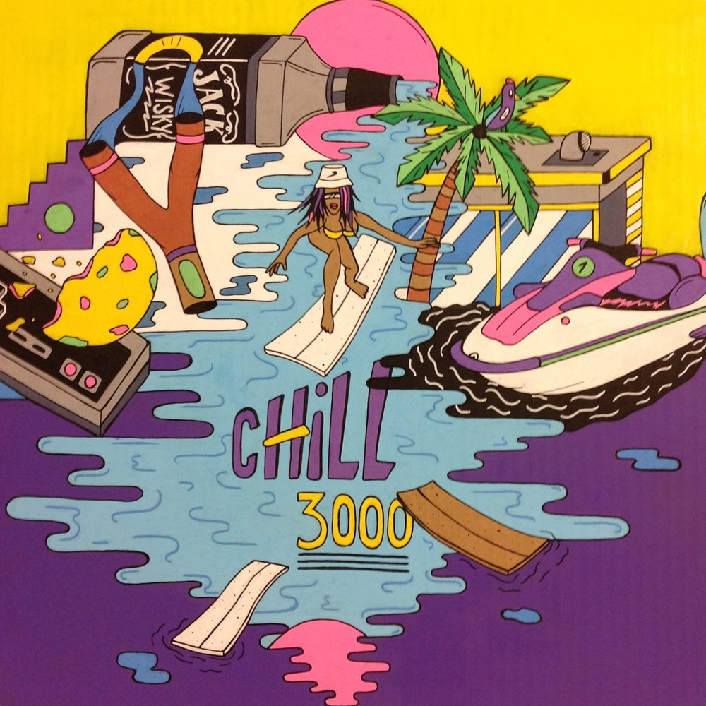 'Chill 3000' - By Drunk & SlipDrunk and Slip is a painter, illustrator and street artist, originally from Lyon.It immerses us in a bright, colorful and very 90's universe !From walls to canvases, from paper to digital, he multiplies the media of creation, while being inspired by the travels that he has been able to realise.Opening + Live Music with BILLSBRYWed 9 May 2018....... Show running till 9 June .......