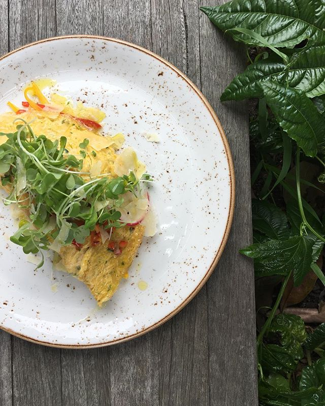 Another new menu item to reflect this wonderfully warm season we're in. Between those layers of soft egg is sweetcorn, capsicum, and monte vecchio!