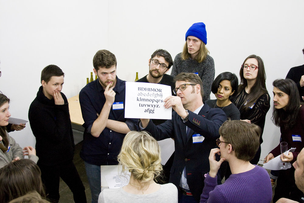 Jean François of Typofonderie critiques an attendee's project submission. February 18, 2016