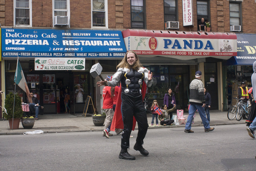 This young man from the Hudson Valley Lodge dressed up as Thor, the superhero from Marvel Comics based on the Norse god.
