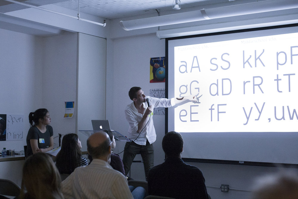 Anselm presenting his project at TypeThursday at Type Directors Club. June, 2017