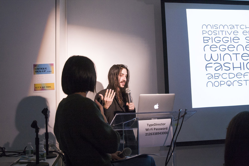 Aaron presenting a reverse-stress style font at TypeThursday at Type Directors Club. April, 2017
