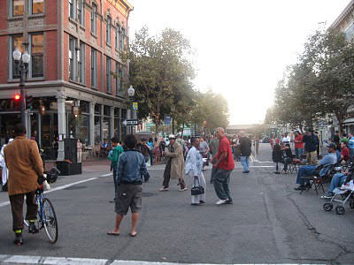 Mingling and Dancing on Washington Street