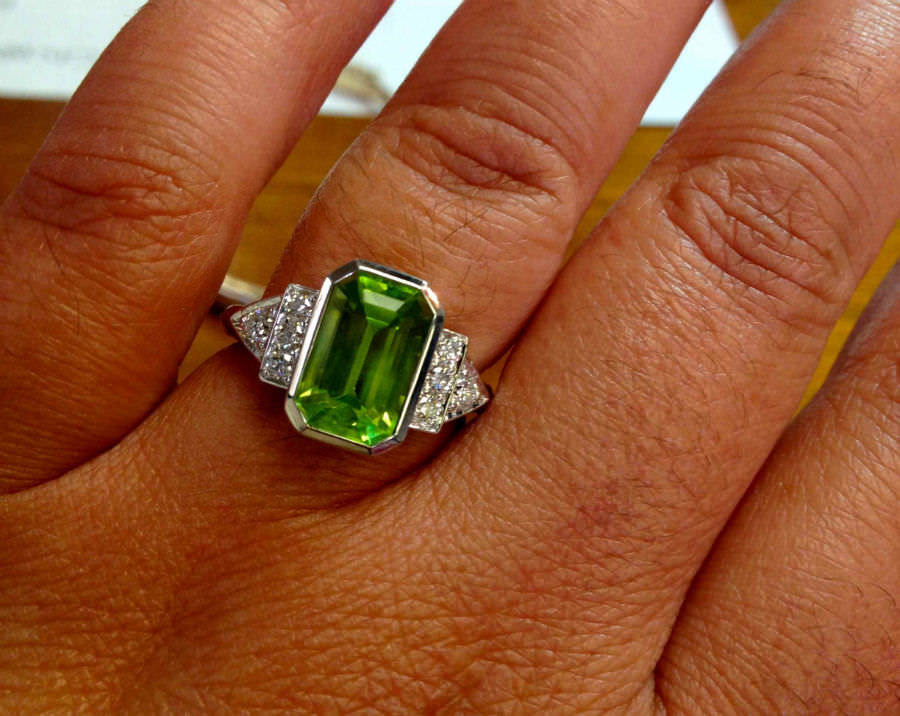 Art Deco inspired rare peridot and diamond ring designed and crafted by Jeff Sahadi