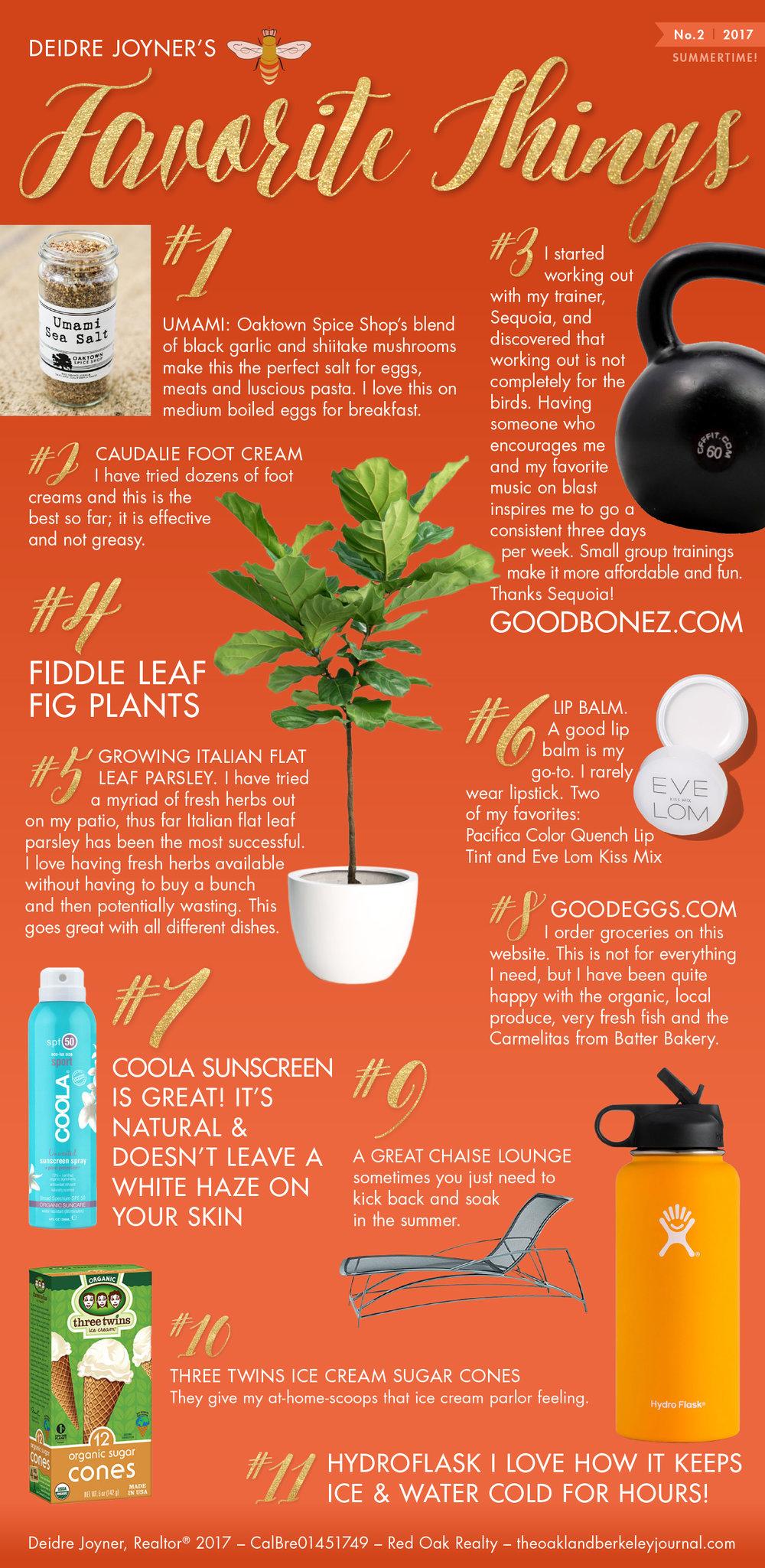 TheOaklandBerkeleyJournal.com : Deidre Joyner : Favorite Things No. 2