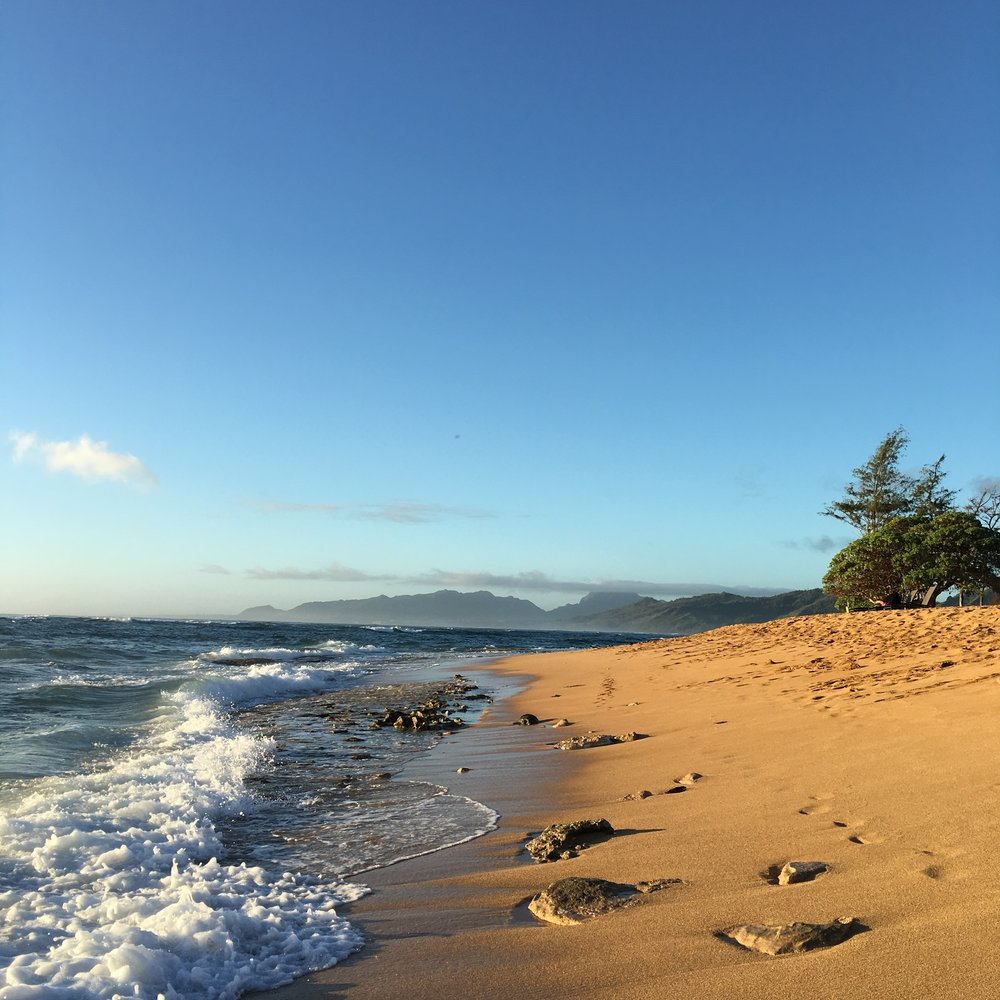 Morning beach jog in Wailua