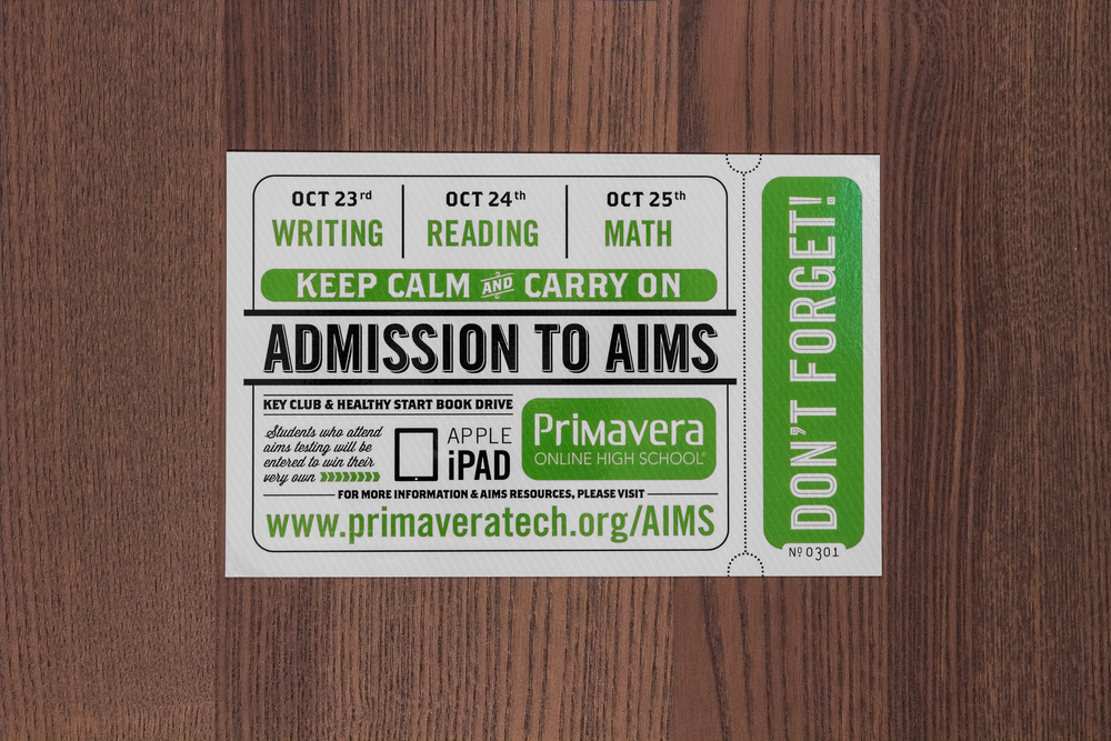 The Arizona Instrument to Measure Standards is a state-wide standardized test that is required in order to graduate. This postcard included information for testing, resources, and assistance.