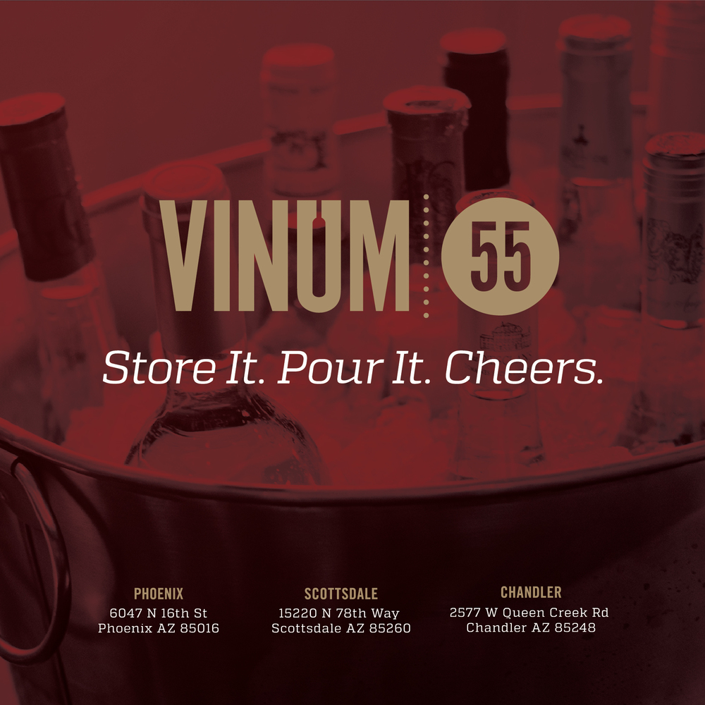 Here is the front side of an event flyer for Vinum 55.