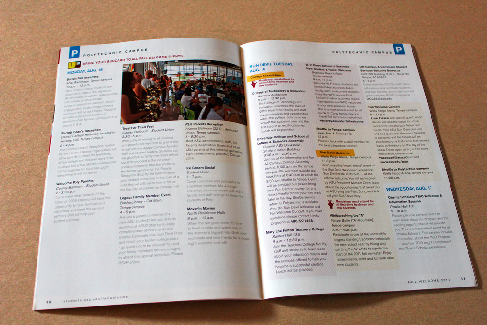 An interior spread of the Fall Welcome brochure.