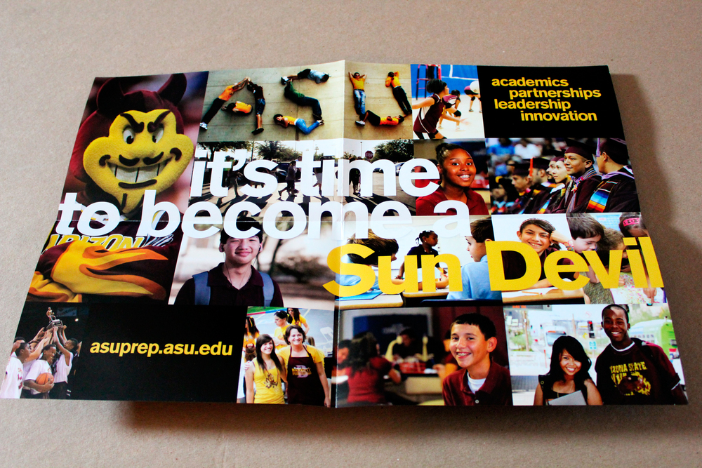 The ASU Prep Academy brochure opened up to a collage of Sun Devil imagery and branding.