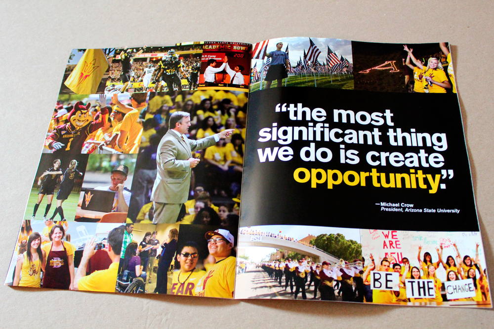The interior spread of the Orientation Guide featured a quote from ASU President, Michael Crowe.