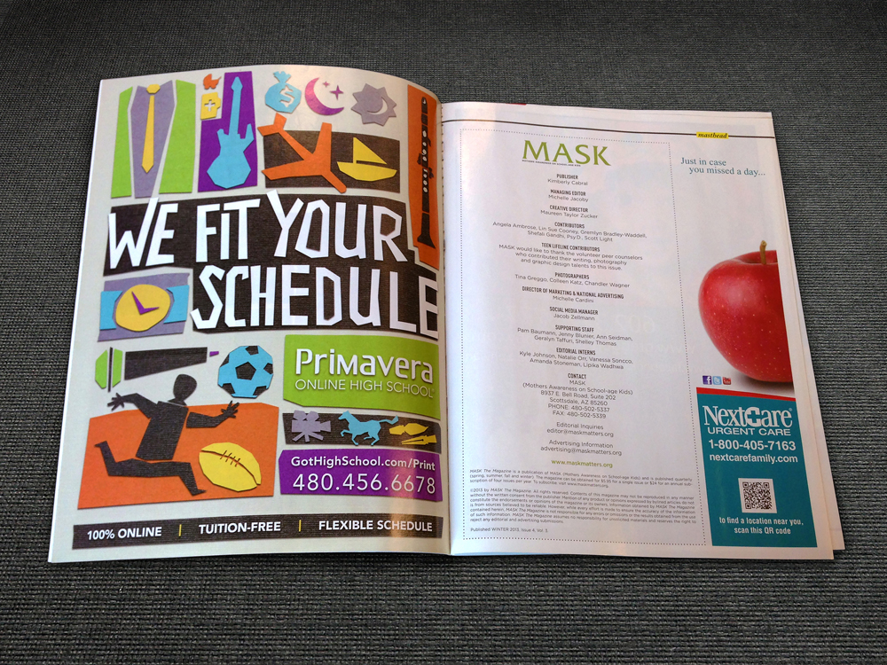 This advertisement was on the front page of MASK magazine, a publication named after Mothers Awareness on School-aged Kids organization.