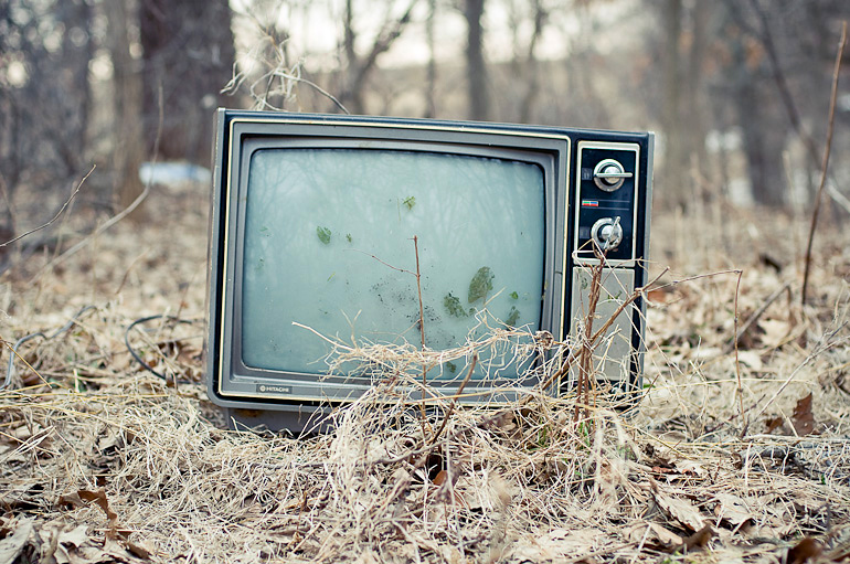 vintage photo of a tv in the woods