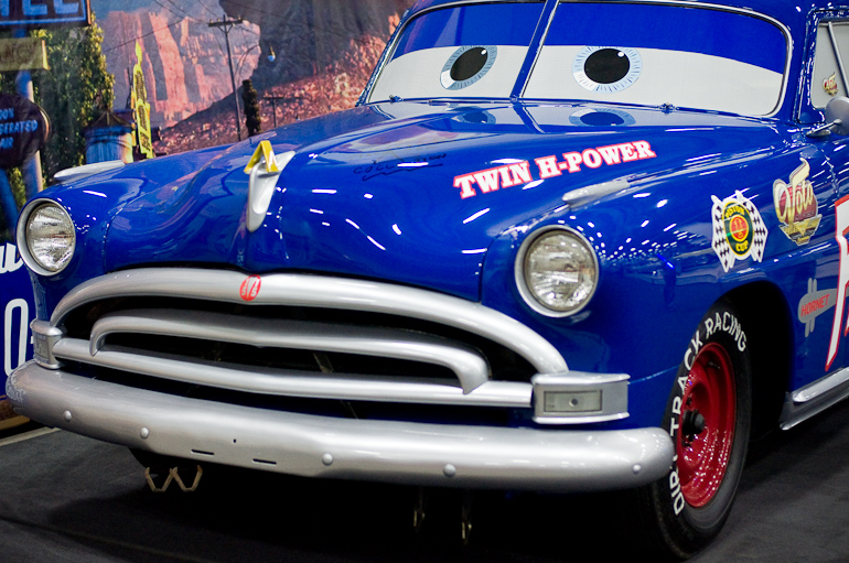 Front end of the Hudson Hornet from the movie Cars, taken at the auto show in Des Moines, Iowa.