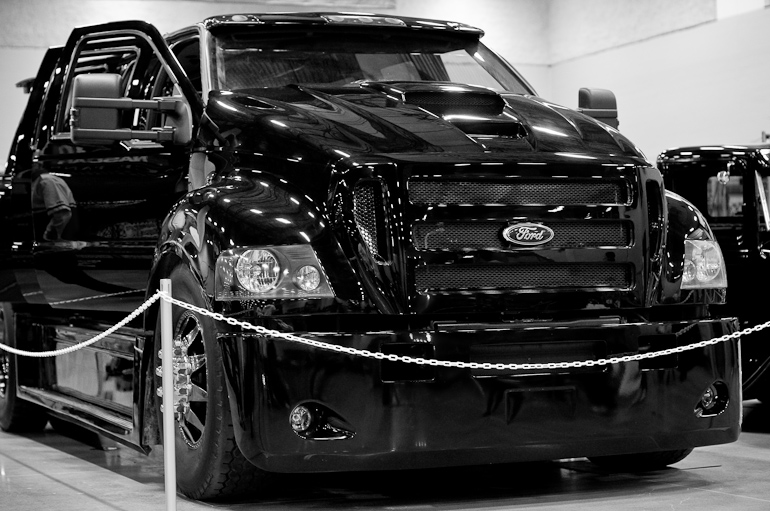 Front end of a large truck at the auto show in Des Moines, Iowa.