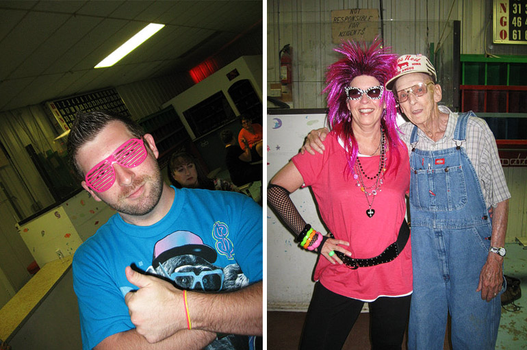 two photos of us dressed like idiots skating to 80s music in a roller rink in Stuart, Iowa.