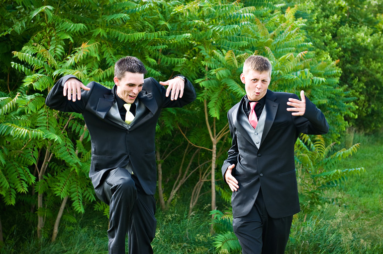 doing a little kung fu action before the ceremony