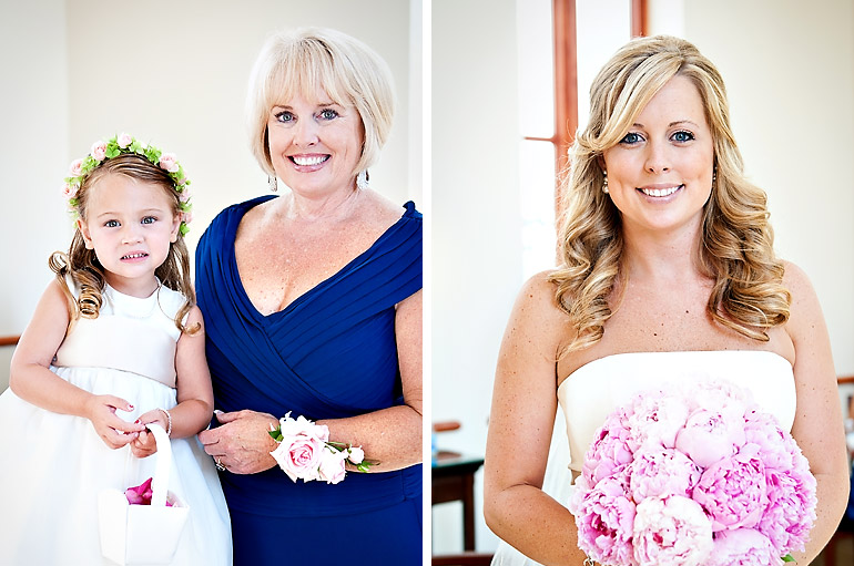 portrait of the bride and her mother with the flower girl