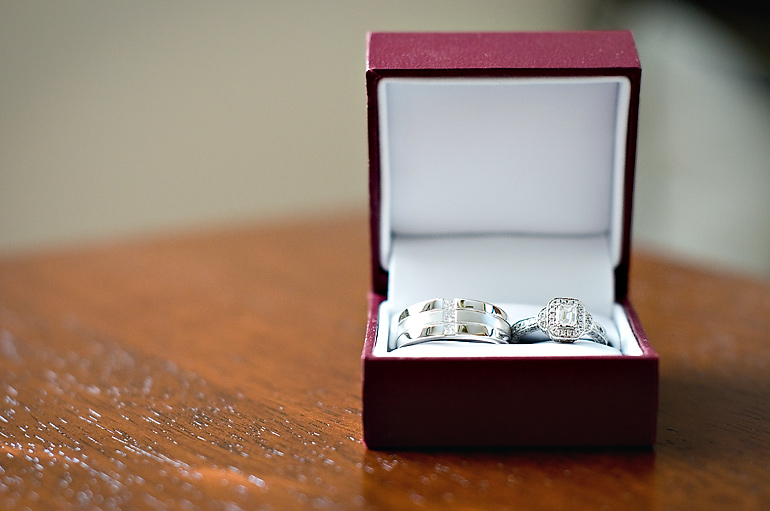 Our beautiful wedding rings in a box by an open window. Wedding is at Jester Park Lodge in Granger, Iowa.